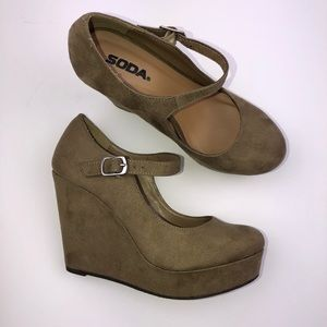 Shoes - Soda Brand Wedges Size 6.5 Suede Tan Heels